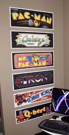 A-ha... youre here because youre one of us. You love retro arcade stuff! (You can admit it, youre among friends!)  This is a 4-Pack of Arcade Marquees designed for your wall!  Each of the marquees in this set is 23.75 total length and the height varies between 8 to 10 depending on the marquee. We keep the width identical so you can stack them up like you see in the picture. Or... just stick them all over your wall, the choice is yours!  We took the time to find quality reference material…