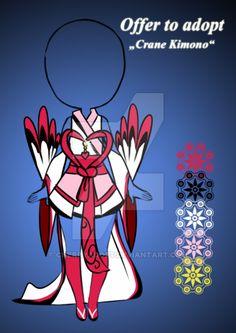 (open) Offer to adopt - Crane Kimono Outfit by CherryAdopt