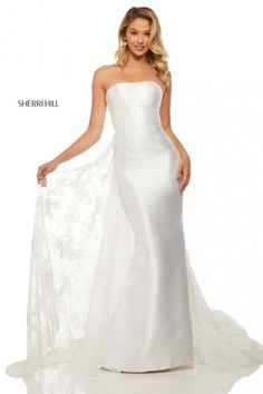 Sherri Hill 52594 Ivory Gown with Lace Train