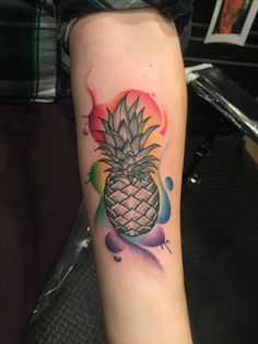 My fiancé and I got this matching tattoo. Pineapples are kind of our thing.