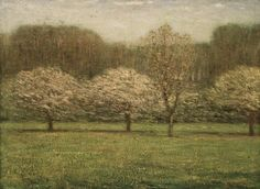 Dwight William Tryon (American, 1849-1925). Apple Blossoms, 1895. Oil on canvas, 21 5/16 x 28 3/4 in. (54.2 x 73 cm). Brooklyn Museum, Gift of Mrs. George Langdon Jewett in memory of her husband, 17.40
