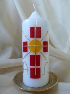 Easter candle cross, squares, sun made by candles and decoration Tina Hettwer via Da … – Kerzen – Kerzen Childrens Prayer, Première Communion, Easter Cross, Ikea, Crucifix, Candle Making, Pin Collection, Wedding Bands, Etsy