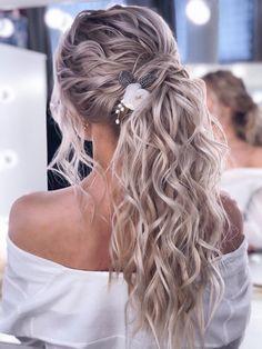 Wedding Hair Clips, Fall Wedding Hair, Braided Wedding Hair, Wedding Updo, Boho Wedding Hair Half Up, Beach Wedding Hair, Summer Wedding, Bridal Hair Vine, Bridal Comb