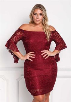 e45936c7a983 Plus Size Off Shoulder Lace Bodycon Dress Curvy Fashion