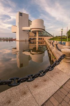 Rock and Roll Reflection - The Rock and Roll Hall of Fame on the Northcoast Harbor in Cleveland, Ohio.