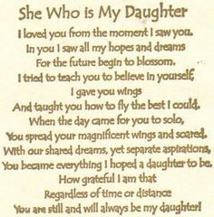 she who is my daughter...