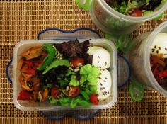 May 27 2014: Prep meals done for tomorrow.  Mix salad + boiled egg whites + tofu sausages + raw organic seeds on top  #getitdone #vegetarian #eatclean #organic