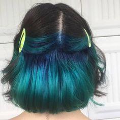 Under Hair Dye, Under Hair Color, Hidden Hair Color, Black Hair Ombre, Teal Hair, Green Hair, Hair Color Streaks, Hair Dye Colors, Low Lights Hair