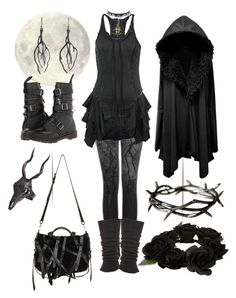 """Dark Forest Spirit"" by bloodmoonsuccubus ❤ liked on Polyvore featuring Bolongaro Trevor, Falke, LAS Jewelry, Alexander Wang, Annette Ferdinandsen, Dr. Martens and River Island"