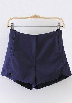 Blue Plain Zipper High Waist Shorts