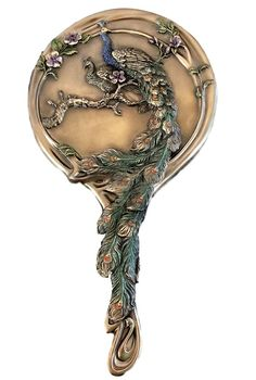 - Peacock Hand Mirror Art Noveau Style Peacock Couple Bronze Resin Vanity Mirror. - Gorgeous, detailed mirror with male and female peacock on one side and another colorful male on the mirrored side. -