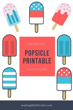 Patriotic Popsicle Printable for the 4th of July and Memorial Day! CUTE