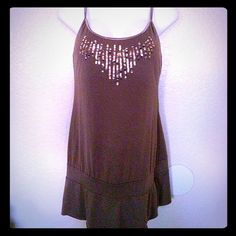 Exhilaration Tunic Tank w/ Sequins Gently worn and in excellent condition! Bra shelf, and adjustable straps. Brown Exhiliration Tops Tank Tops