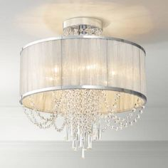 Ellisia 19 And Three Quarter Inchw Silver Organza Shade Chrome Ceiling Light Crystal Ceiling Light, Semi Flush Ceiling Lights, Ceiling Lamp, Lamp Light, Bedroom Ceiling Lights, Led Chandelier, Vintage Chandelier, Chandeliers, Hallway Light Fixtures