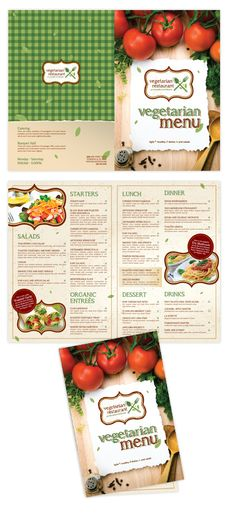 Vegetarian Restaurant Bi-fold booklet menu template #menu