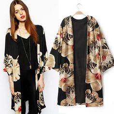 Cardigans Kimono Coat V Neck Three Quarter Sleeve Open Stitch Floral Print Cardigan Japanese Shirt Women Long Kimono Cardigan, Kimono Coat, Cardigan Sweaters, Capes For Women, Clothes For Women, Kimono Fashion, Fashion Outfits, European Street Style, Looks Style