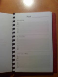 Pages for a weekly planner