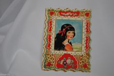 vtg valentine card paper Whitney made Black hair blue eye girl portrait