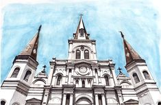 Watercolor, pen and ink of St. Louis Cathedral in worm's eye view at Jackson Square in New Orleans by Artist Esther BeLer Wodrich. Prints and originals of this and more from the architecture series can be found at www.estherbeler.com/shop.