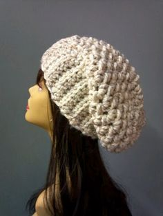 Hand Crochet Hat Womens Oversized Chunky Slouchy Beanie Winter Accessories / the OTTAWA / Wheat Field