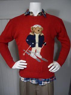 Men's Vintage POLO RALPH LAUREN Ski Skiing Flag Bear Red Wool Sweater SZ M Rare! #PoloRalphLauren #Sweater