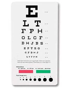 Style Code: (PR-3909)  Designed to measure visual acuity at a distance. Intended to be placed 6 feet away from viewer. Chart dimensions 18.5cm x 10cm.