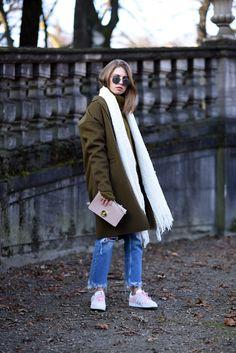 Khaki Coat, Fringed Denim & Rose Adidas Gazelle - OffwhiteSwan