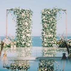 A luxury ceremony with priceless views! Would you like these florals for your ce. A luxury ceremony with priceless views! Would you like these florals for your ceremony arch? Wedding Ceremony Ideas, Outdoor Wedding Decorations, Ceremony Arch, Wedding Themes, Wedding Goals, Wedding Planning, Dream Wedding, Arch Wedding, Wedding Aisles