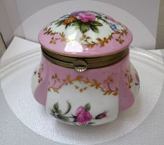 Cottage Rose Garden Porcelain Vanity Jar R & S by thejewelseeker, $75.00