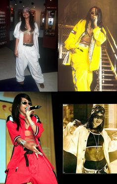 aaliyah style uniform baggy pants jacket crop top shades bandana fashion