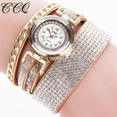 2018 Top CCQ Watch Women New Fashion necklace Diamond chain Luxury Brand Leather Leisurely Bracelet Crystal Quartz Wristwatch M6