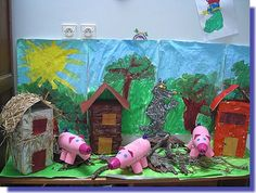 Knutselen 3d: thème des 3 petits cochons Projects For Kids, Diy For Kids, Art Projects, Crafts For Kids, Sculpture Projects, Three Little Pigs, Wolf, Math Games, Farm Animals