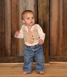 Boy's Tie Onesie with Vest-Boy's Vest Onesie with Tie-Boys Birthday Onesie-Boys Easter Onesie