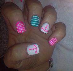 Anchors nail art pink blue essie opi nails acrylics manicure summer boat nautical sailing