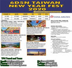 6 DAYS TAIWAN NEW YEAR FEST 2020 (With Round trip Airfare via China Airlines) Minimum of 2 persons  For more inquiries please call: Landline: (+63 2)282-6848 Mobile: (+63) 918-238-9506 or Email us: info@travelph.com #Taipei #Taiwan #TravelPH #TravelWithNoWorries Taipei Taiwan, Round Trip, Manila, China, News, Day, Porcelain