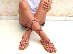 Cordón de cuero sandalias con jersey por GreekChicHandmades en Etsy
