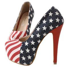 Moonar Career Darkblue Women American Flag Star High Heel Party Shoes Pump