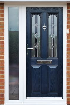 Contemporary Blue Altmore Composite Front Door with Chrome Fixtures and Fittings…