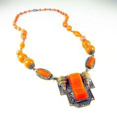 Art Deco Necklace Egyptian Revival Orange Czech by zephyrvintage, $110.00