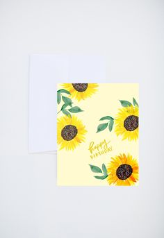 Birthday Greetings - Happy Birthday - Watercolor Sunflowers - Painted & Hand Lettered Cards - A-2 by ShannonKirsten on Etsy