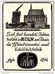 Original-Werbung/ Anzeige 1942 - WEINBRENNEREI OLDEN PETERS - KÖLN / MOTIV KÖLNER DOM - ca. 45 x 65 mm