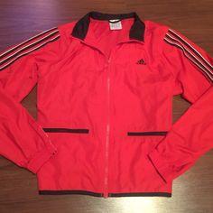 ADIDAS Red, Black and White Jacket - Wind Breaker Like New, Adidas Red, Black and White Fully Lined Sport Jacket - Wind Breaker. Size Large Adidas Jackets & Coats