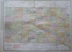 1916 Antique Map of SOUTH DAKOTA Map w RAILROADS Vintage Original State Map