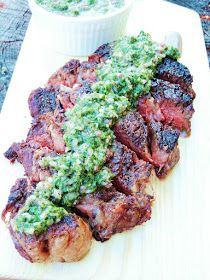 Grilled Ribeye Steaks with Roasted Jalapeno Chimichurri from www ...
