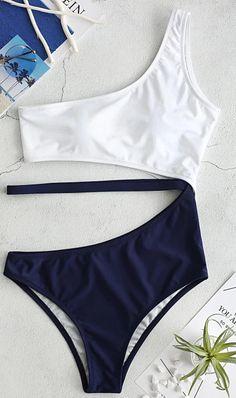 Cutout One Shoulder Swimsuit - Lapis Blue S One Piece Swimwear, Bikini Swimwear, Bikini Set, One Piece Swimsuit, Push Up Bikini, Swimsuit Cover, Summer Swimwear, Plus Size Outfits For Summer, Summer Outfits