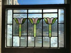 Antique stained glass window  Pair available