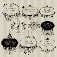 Digital Clip Art Frame Chandelier Vintage DIY Wedding Invitation Scrapbook Calligraphy Victorian Design Transparent Black Middles 10454. $6.70, via Etsy.