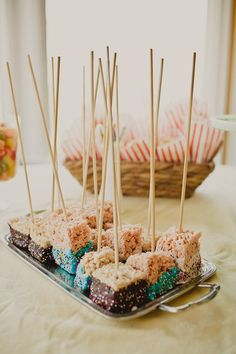 Dipped Rice Krispy Treats on a Stick