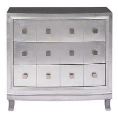 Give your room a taste of luxurious sophistication with an apothecary-style 3-drawer chest while giving yourself some new, versatile storage! || Silver 3 Drawer Chest furniture.cort.com