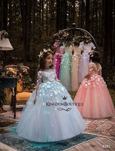 Wedding Dresses Ball Gown, Unique Tulle Bateau Neckline Half Sleeves Ball Gown Flower Girl Dresses With Belt & Bowknot & Beaded Handmade Flowers DressilyMe Girls Blue Dress, Gowns For Girls, Little Girl Dresses, Girls Dresses, Prom Dresses, Wedding Dresses, Birthday Girl Dress, Birthday Dresses, Tulle Flower Girl